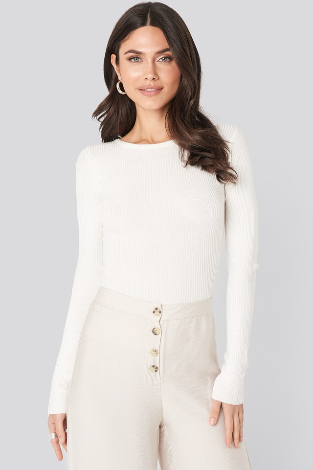 Ribbed Knitted Round Neck Sweater Offwhite