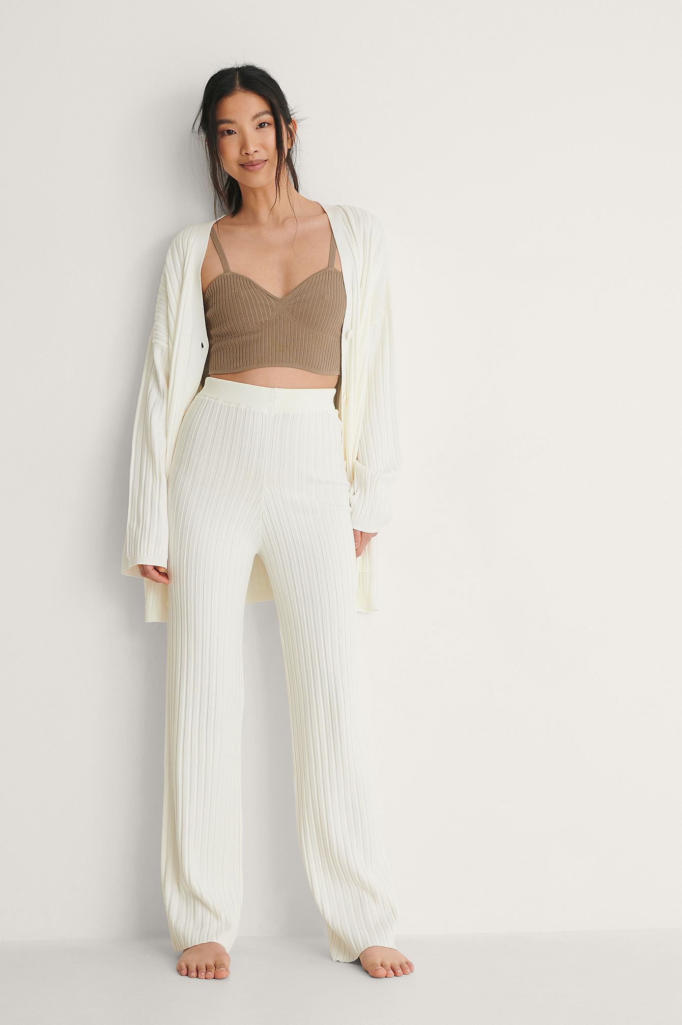 White Ribbed Knitted Trousers