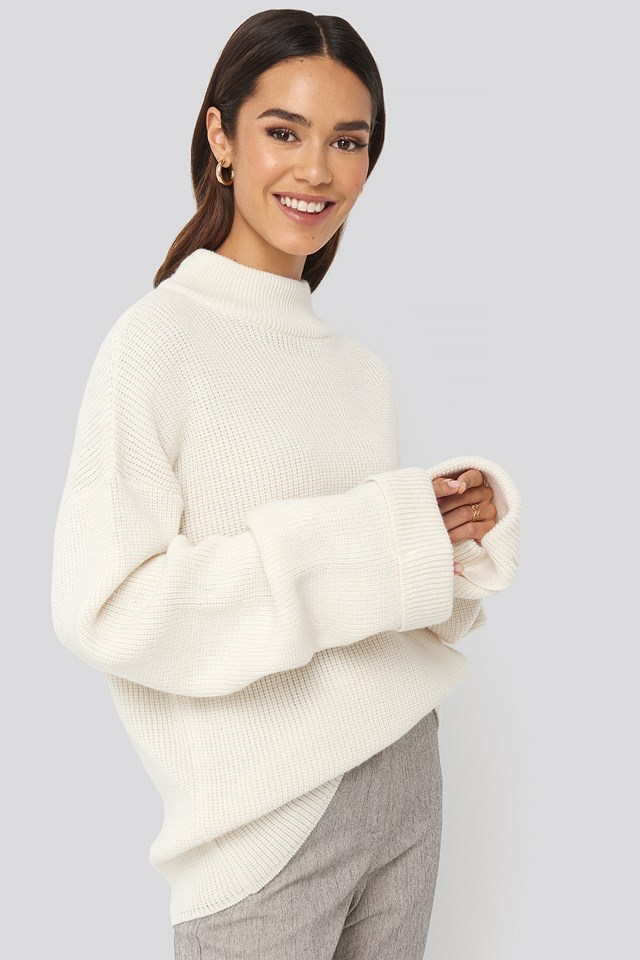 Ribbed Knitted Turtleneck Sweater White