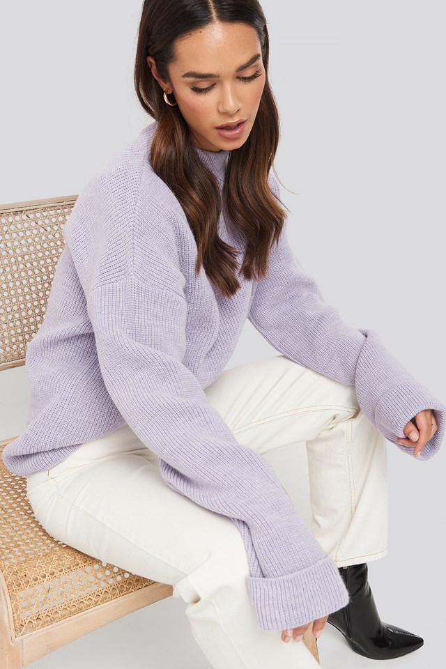 Ribbed Knitted Turtleneck Sweater Lilac