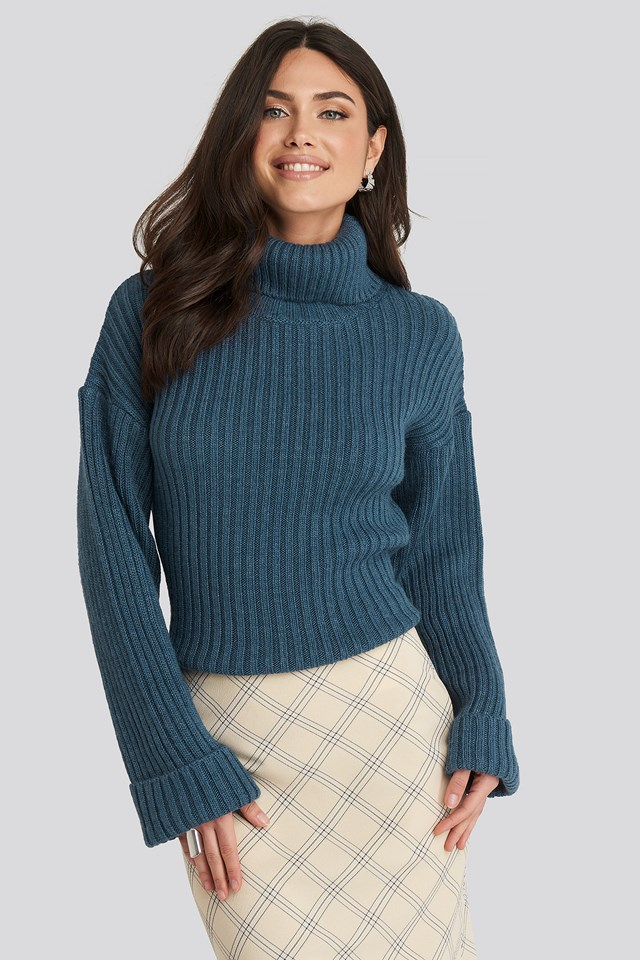 Ribbed Knitted Turtleneck Sweater Blue