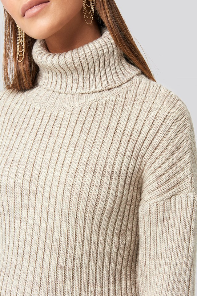 Ribbed Knitted Turtleneck Sweater Beige
