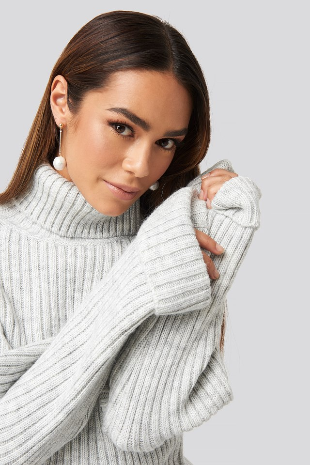 Ribbed Knitted Turtleneck Sweater Light Grey