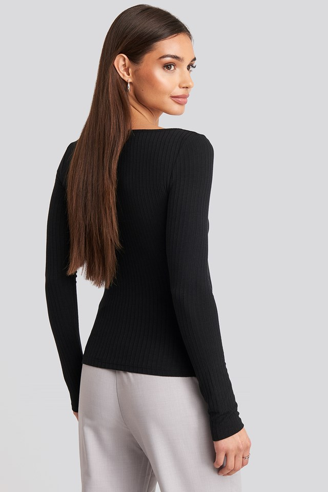 Ribbed Long Sleeve V-neck Top Black