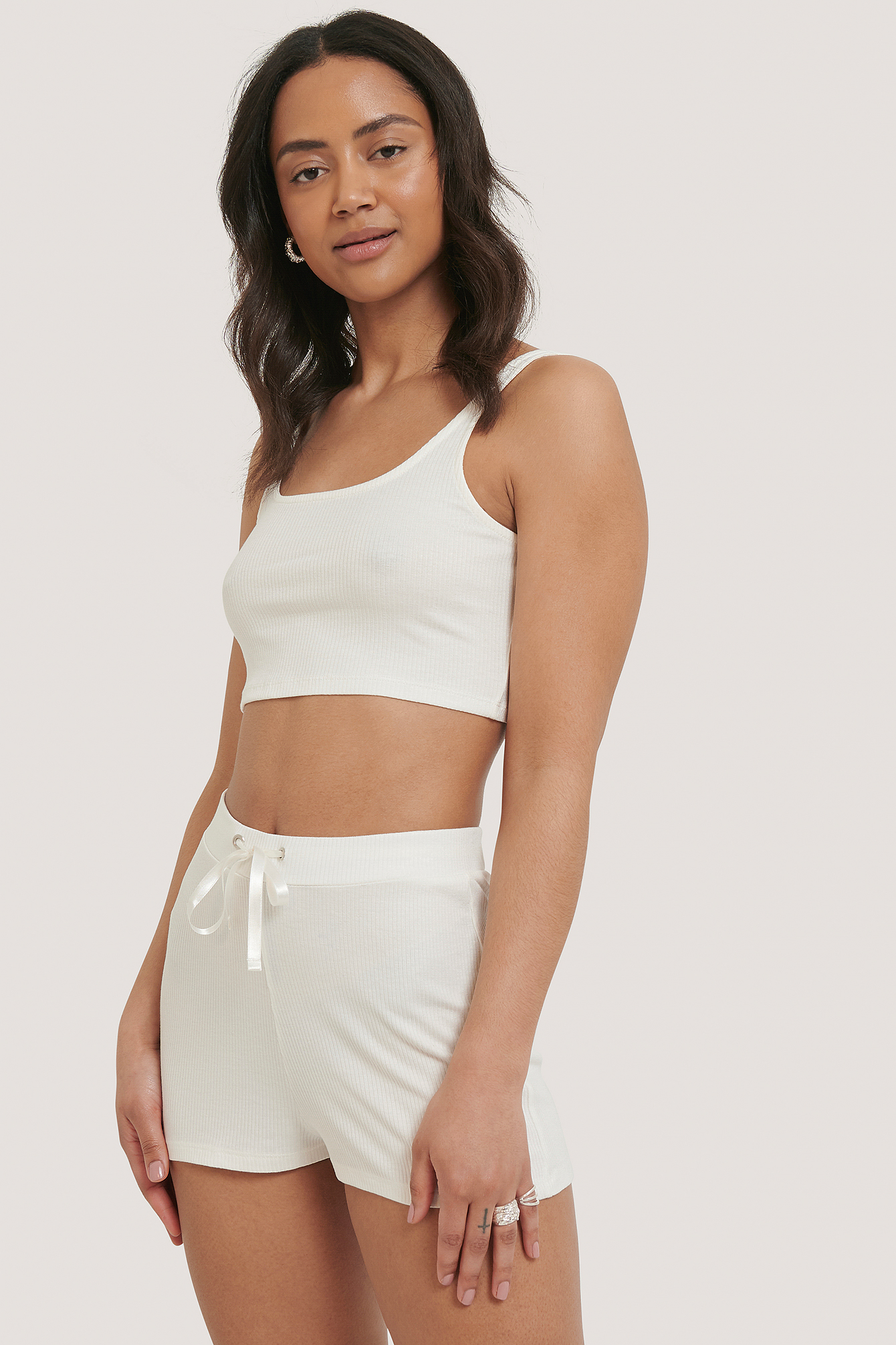 Offwhite Ribbed Lounge Cropped Shorts