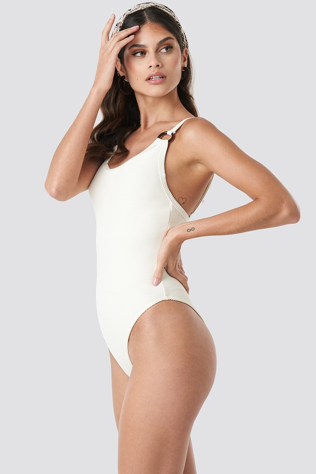 Ribbed O-ring Swimsuit Offwhite