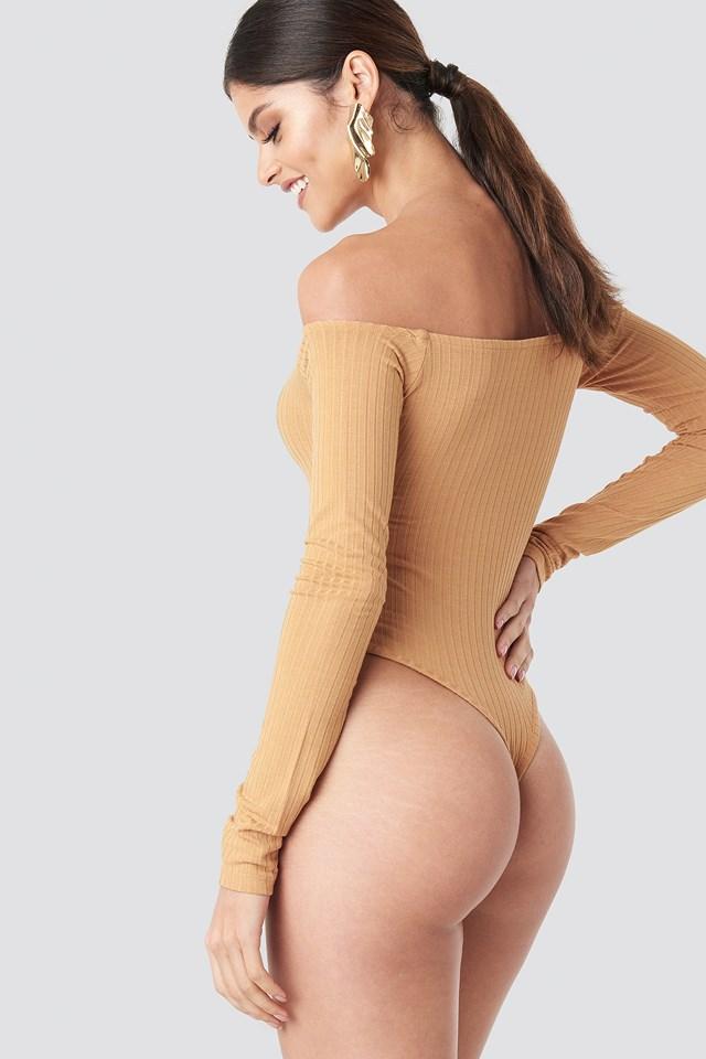 Ribbed Off Shoulder Body Beige