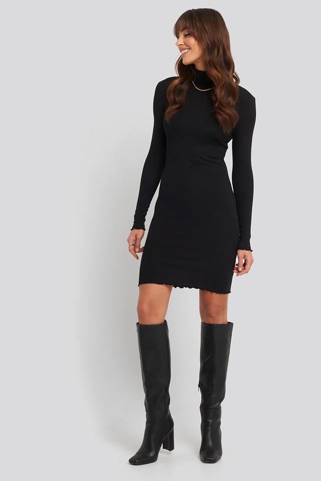 Ribbed Polo Babylock Dress Black