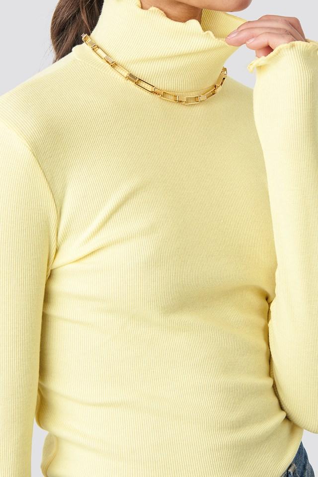 Ribbed Polo Babylock Top Light Yellow