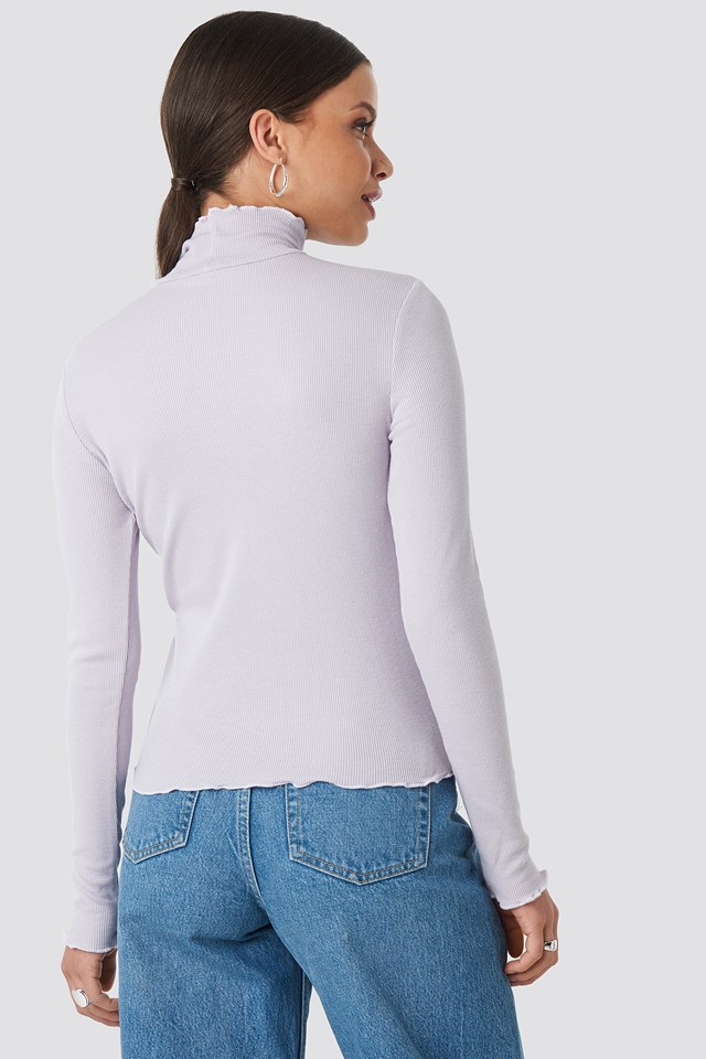 Ribbed Polo Babylock Top Light Purple