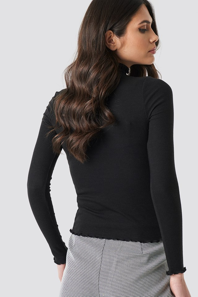 Ribbed Polo Babylock Top Black