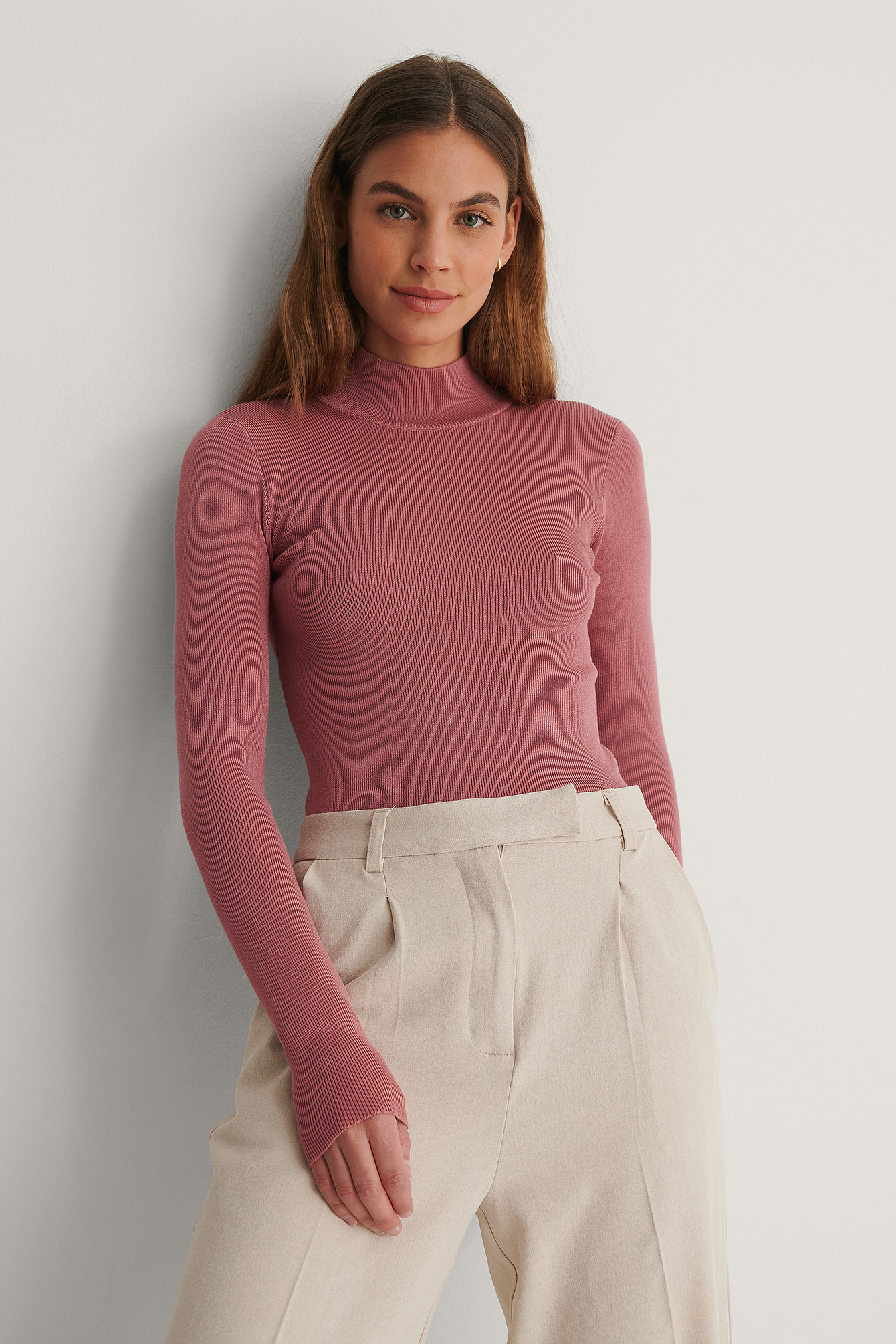 Dusty Pink Ribbed Polo Knitted Sweater