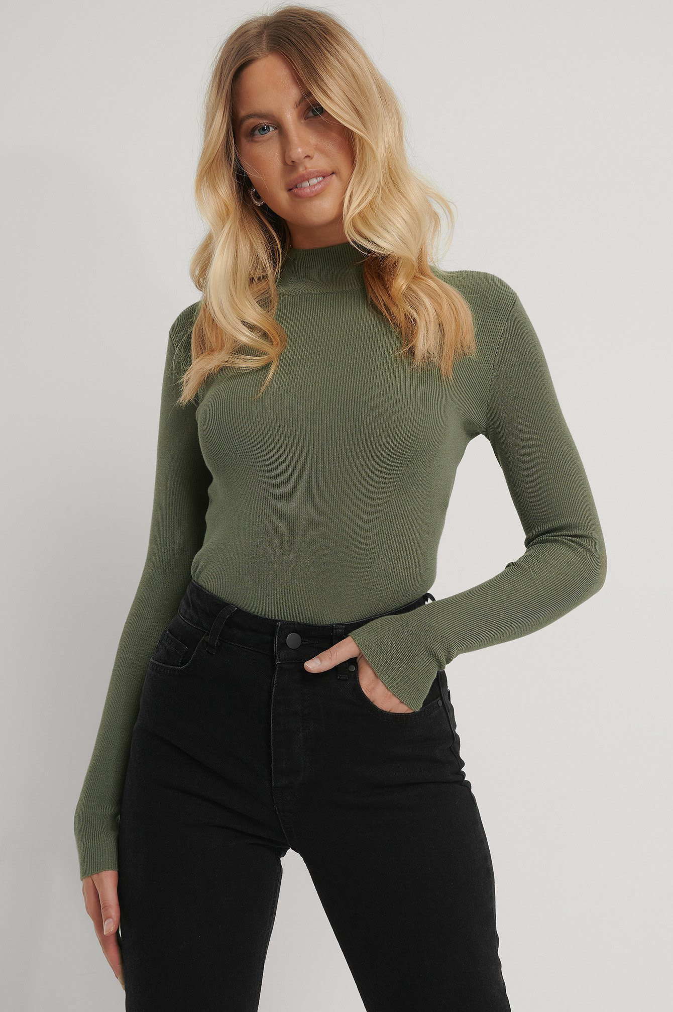 Khaki Green Ribbed Polo Knitted Sweater