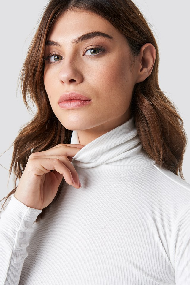 Ribbed Polo Long Sleeve Top Offwhite