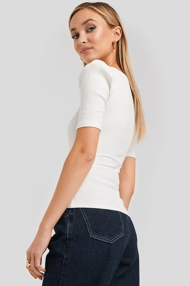 Ribbed Puff Short Sleeve Top Offwhite