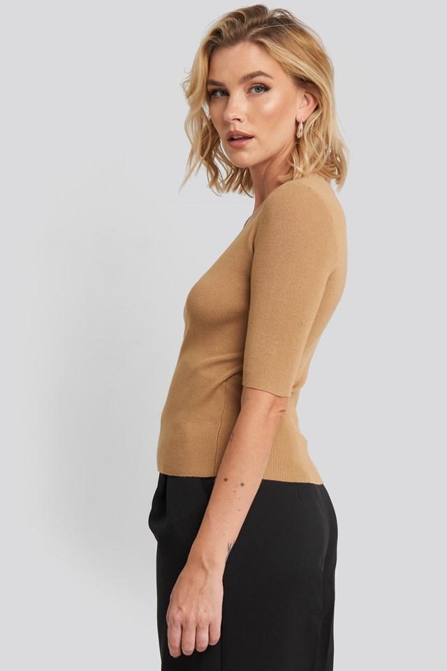 Ribbed Short Sleeve Overlap Sweater Dark Sand
