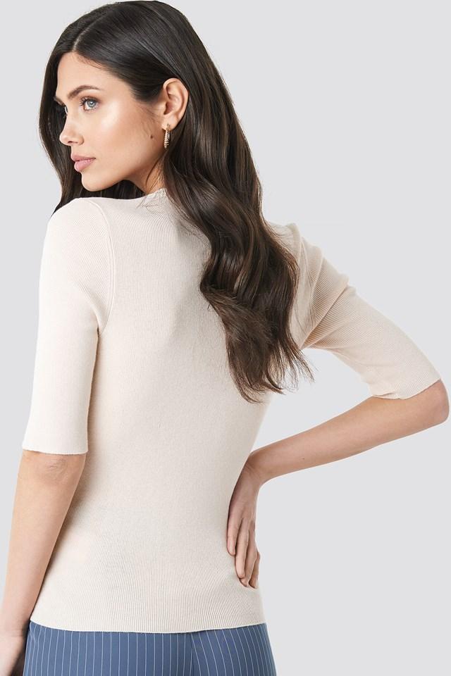Ribbed Short Sleeve Overlap Sweater Offwhite