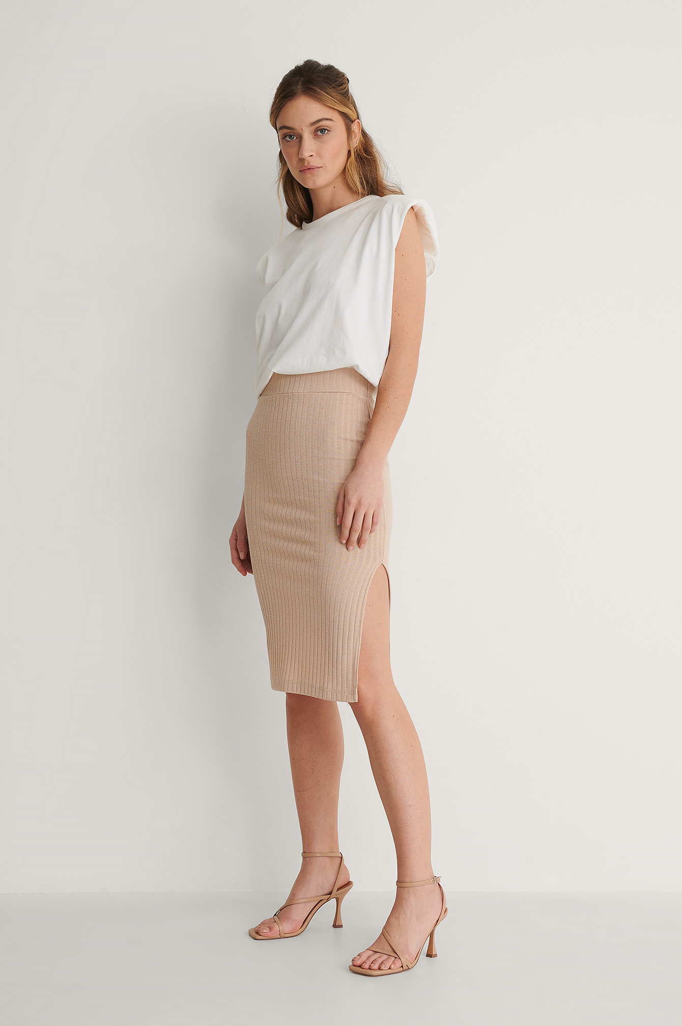 Beige Recycled Ribbed Slit Detail Skirt