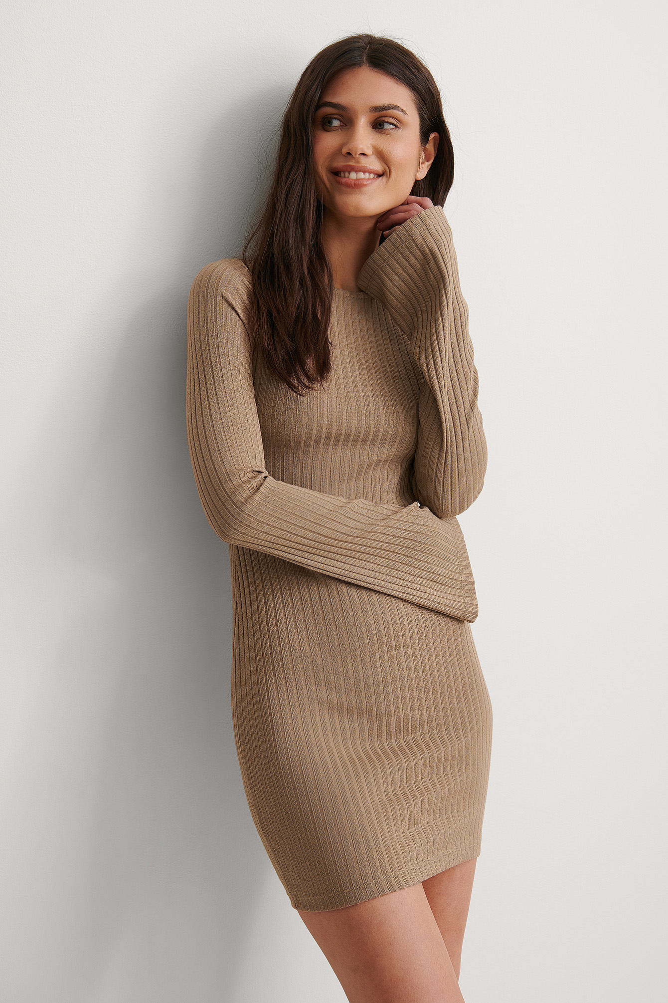Beige Recycled Ribbed Trumpet Sleeve Dress