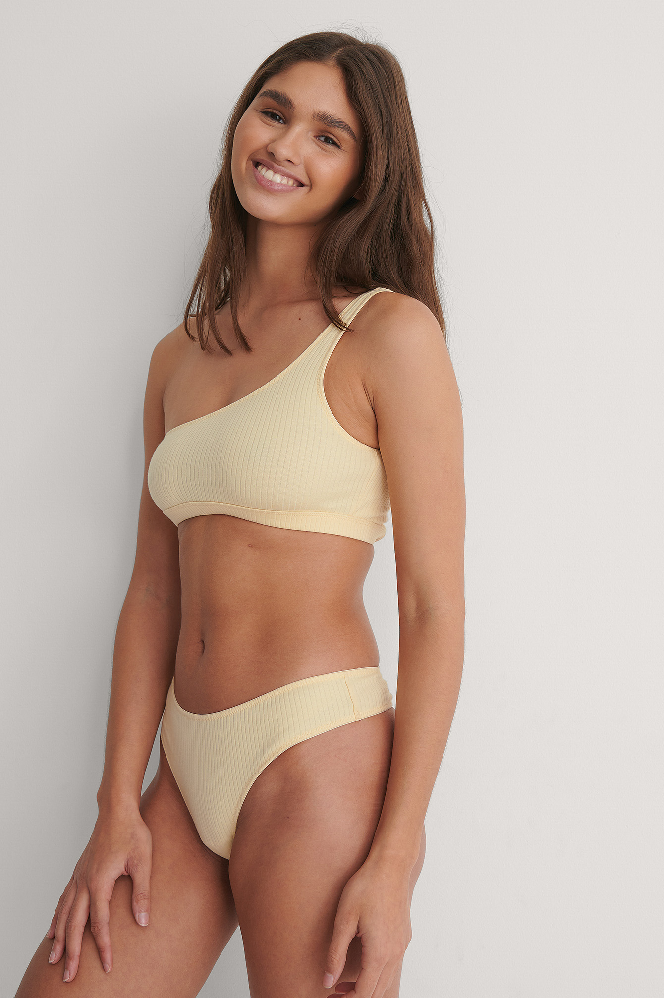 Beige Ribbed V-String
