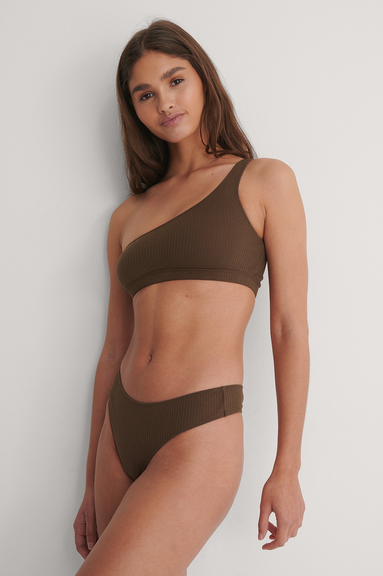 Dark Brown Ribbed V-String