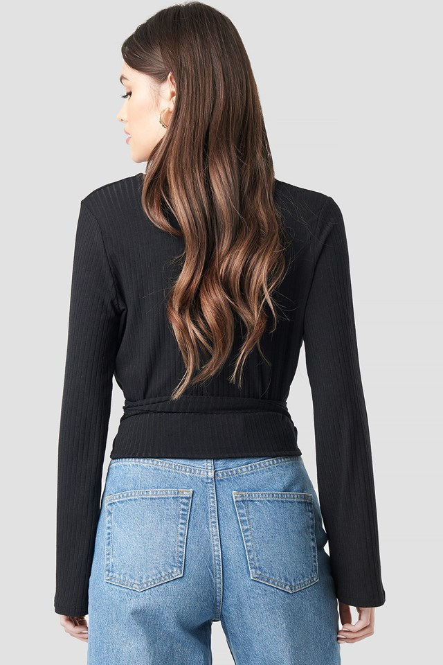 Ribbed Wrap Tie Top Black