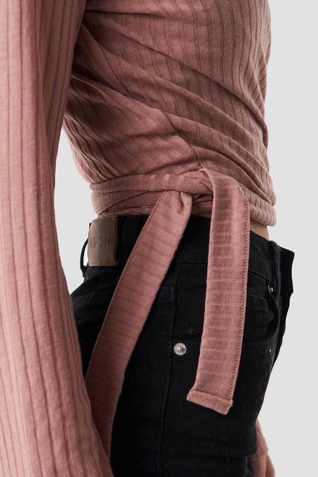 Ribbed Wrap Tie Top Dusty Dark Pink