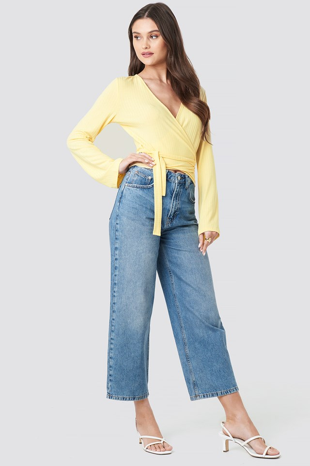 Ribbed Wrap Tie Top Light Yellow