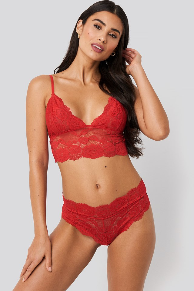 Romantic Lace Hipster Red