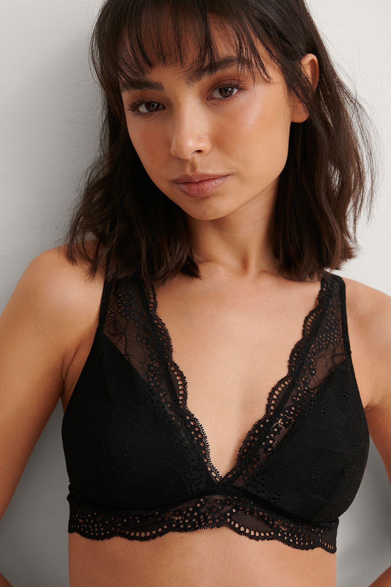 Black Romantic Lace Padded Bra