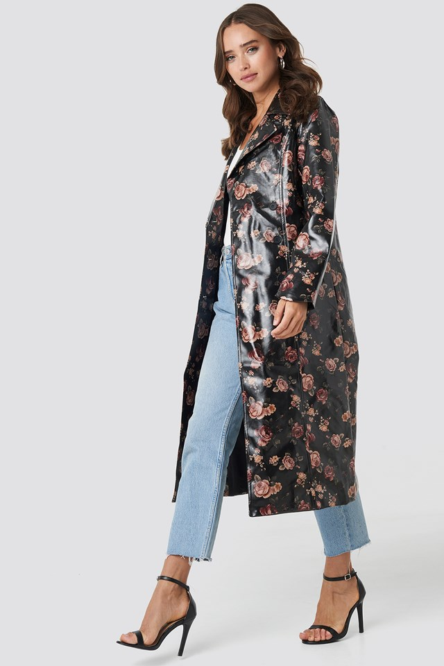 Rose Printed PU Jacket Rose Print