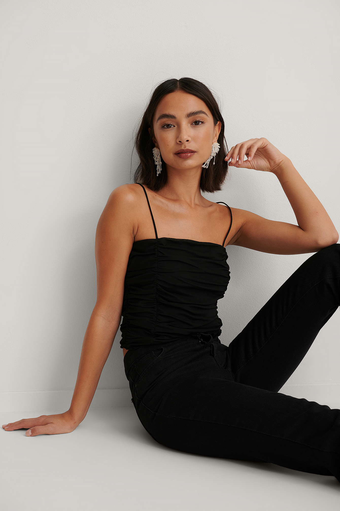 Black Rouched Cropped Mesh Top