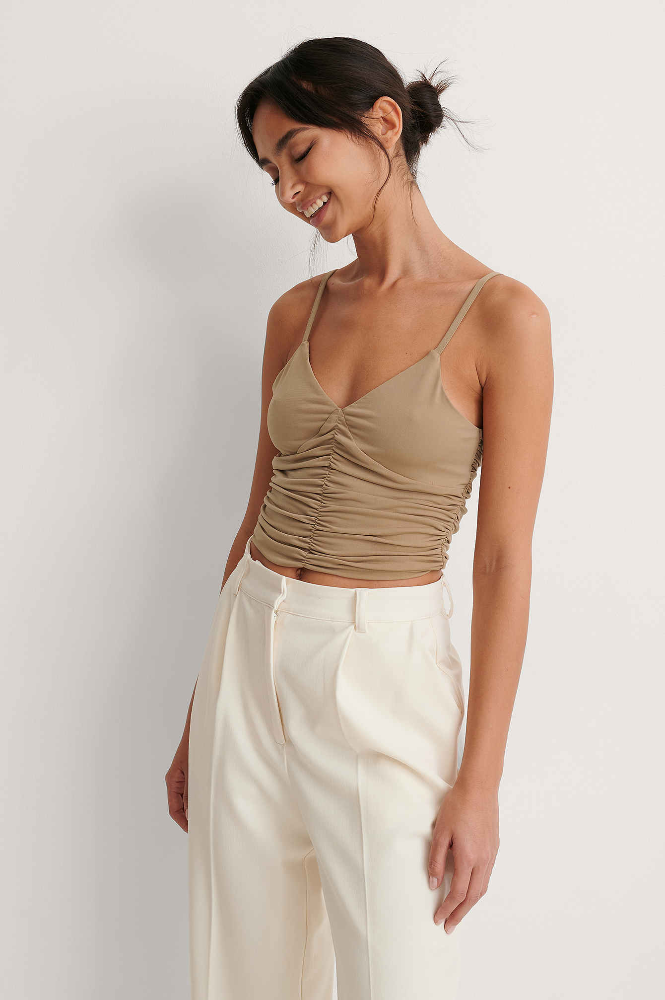 Nougat Rouched Cropped Top