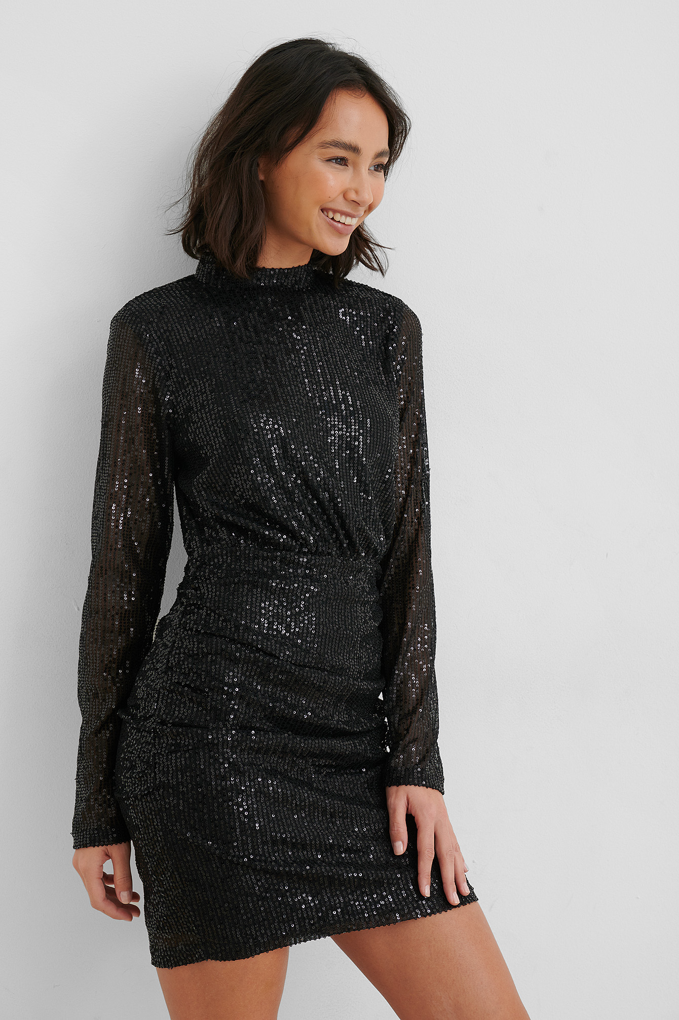 Black Rouched Sequin Dress