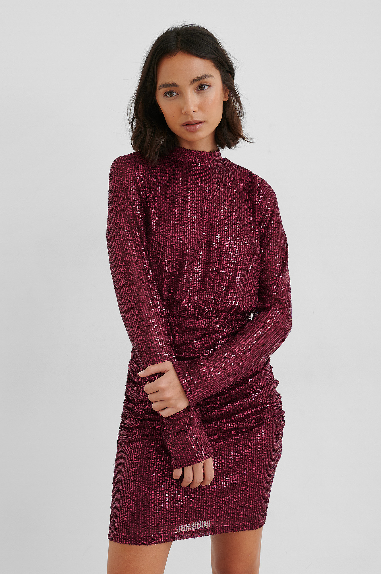 Burgundy Rouched Sequin Dress