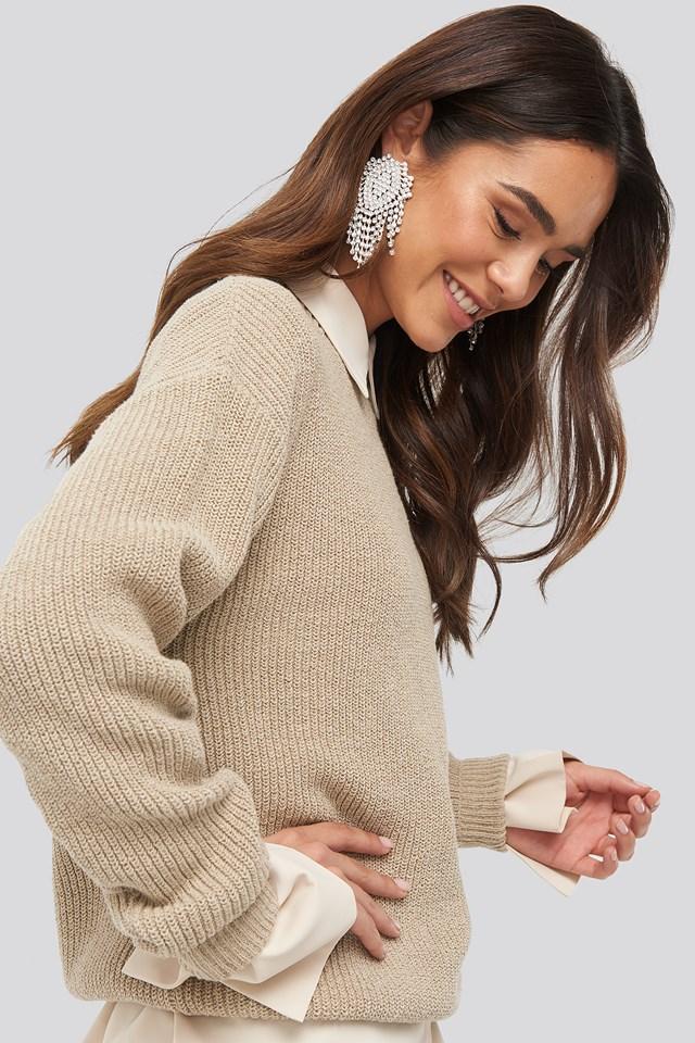 Round Neck Drop Shoulder Sweater Tan