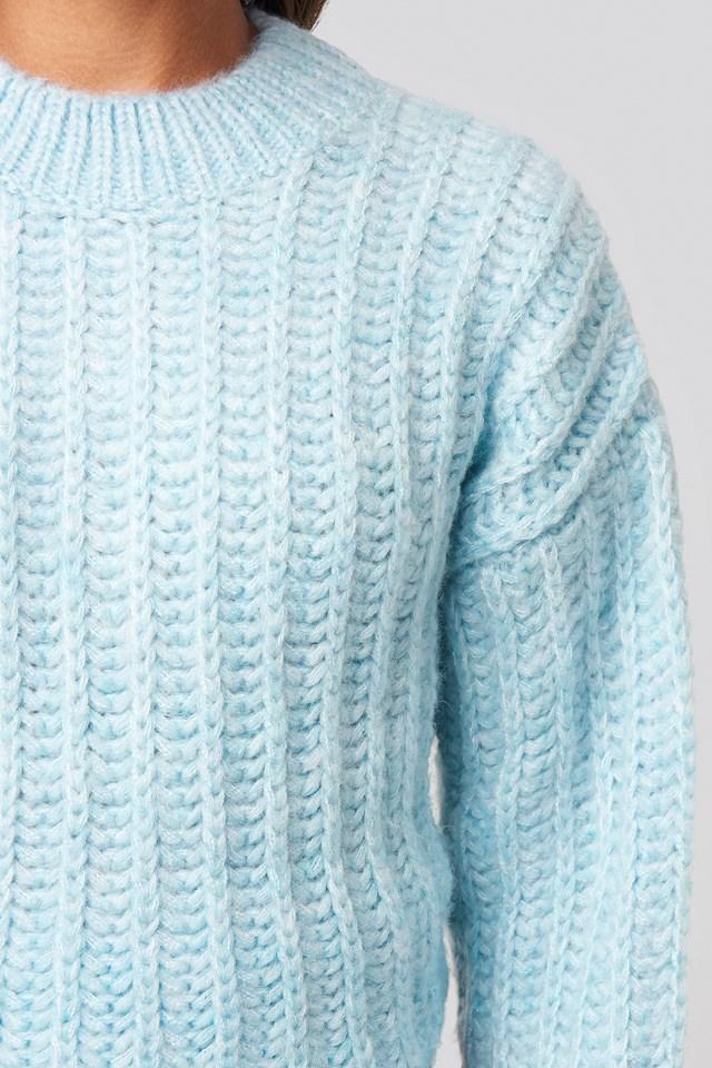 Round Neck Heavy Knit Sweater Light Blue