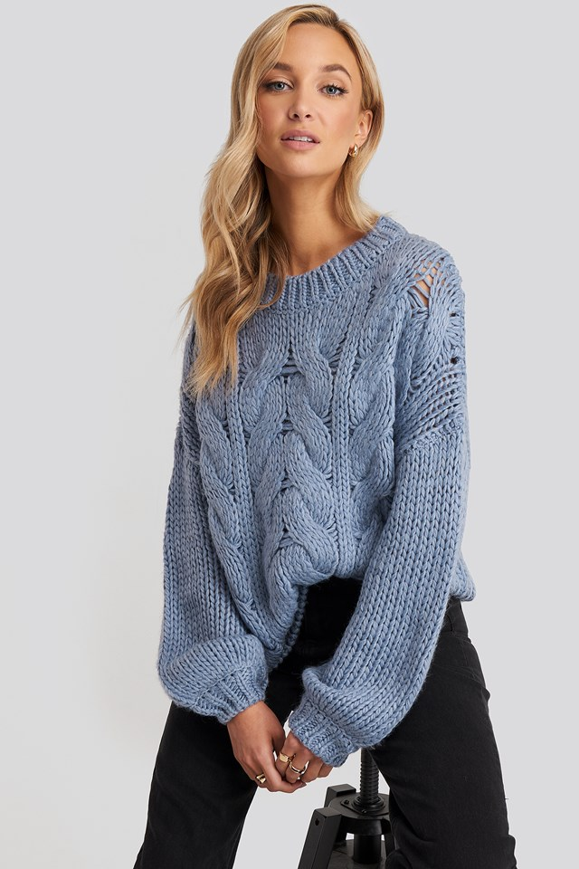 Wool Blend Round Neck Heavy Knitted Cable Sweater NA-KD Trend