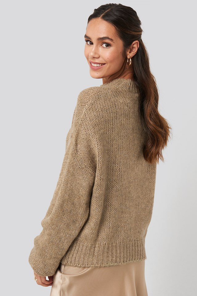 Round Neck Oversized Knitted Sweater Beige