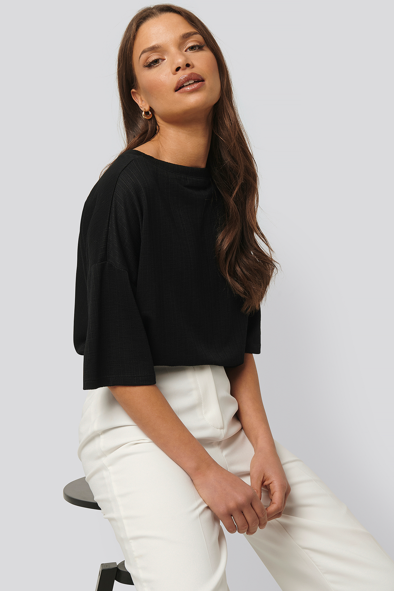 Black Round Neck Ribbed Oversized Tee