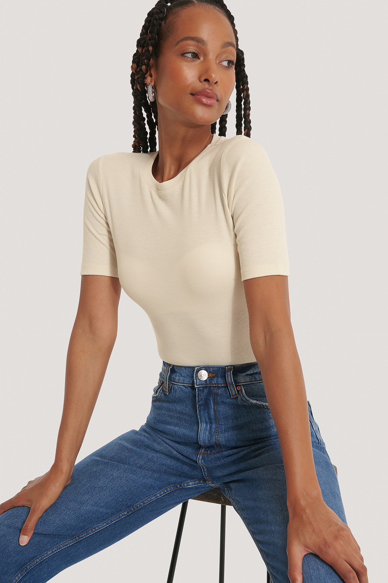 Dusty Light Beige Round Neck Ribbed Top