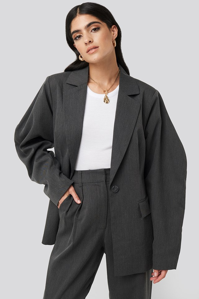 Rounded Shoulder Blazer Dark Grey