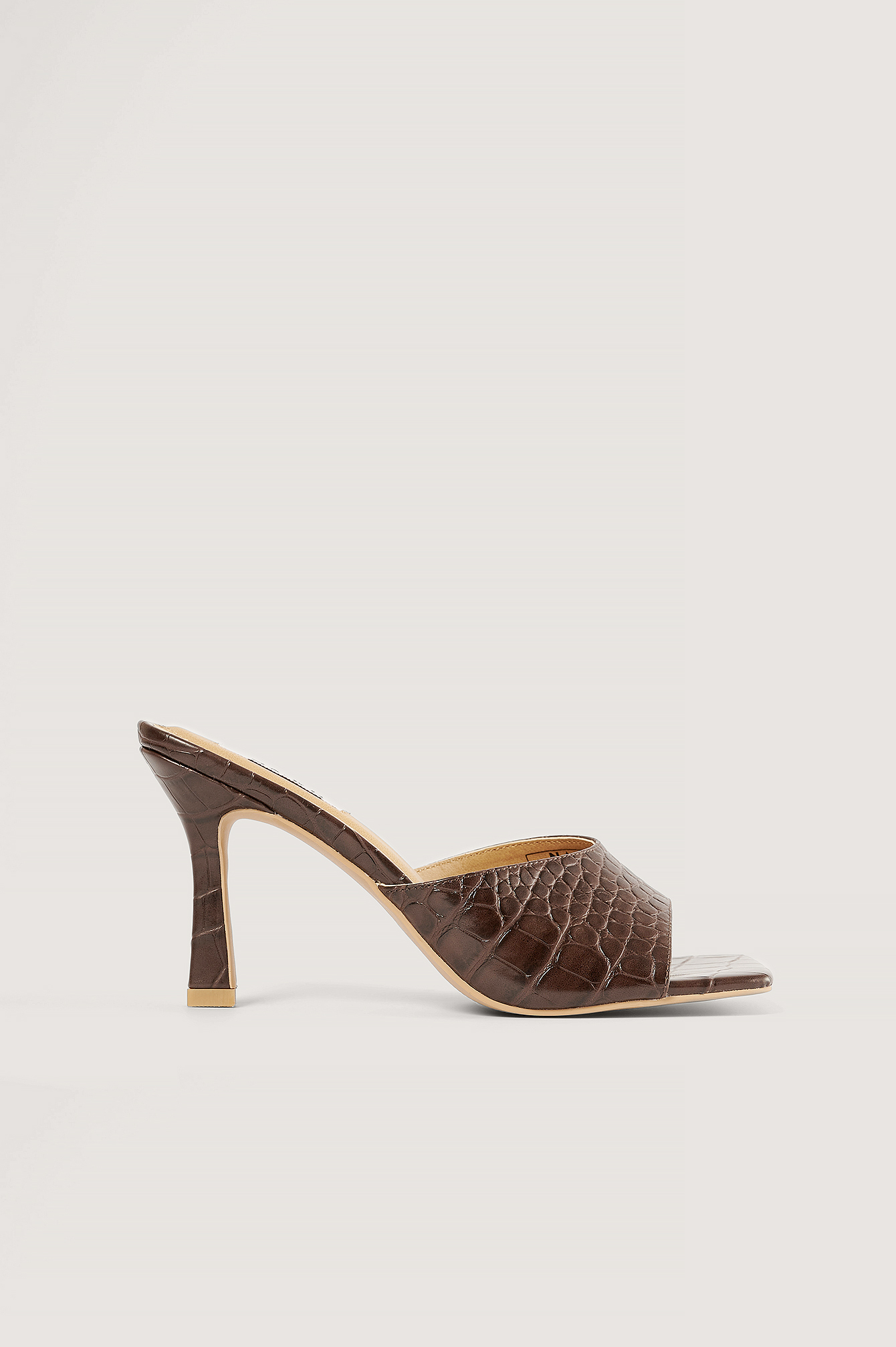 Brown Rounded Strap Mules