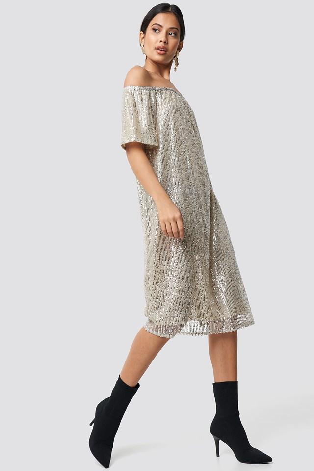 Ruched Off Shoulder Sequins Dress Silver