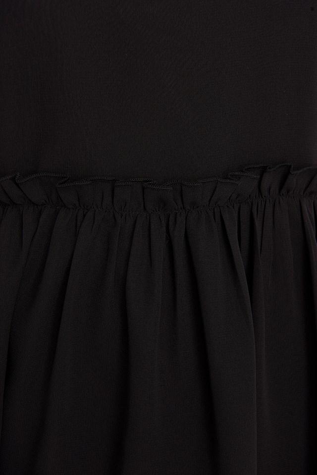 Ruffle Detail Chiffon Dress Black