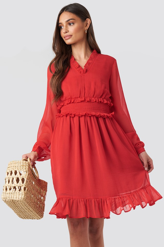 Ruffle Details Flowy Mini Dress NA-KD Boho