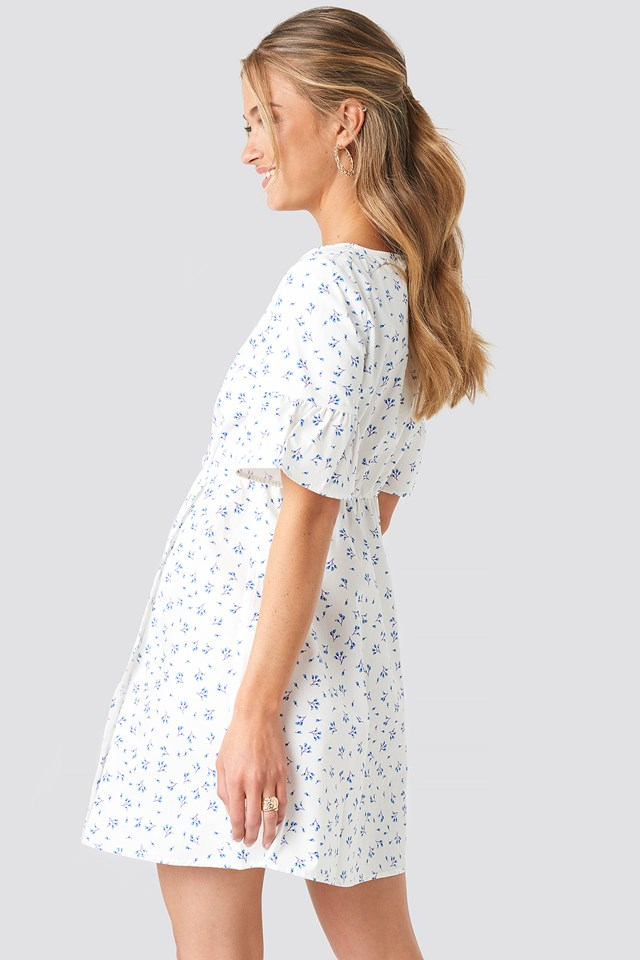 Ruffle Sleeve Mini Dress Floral Print