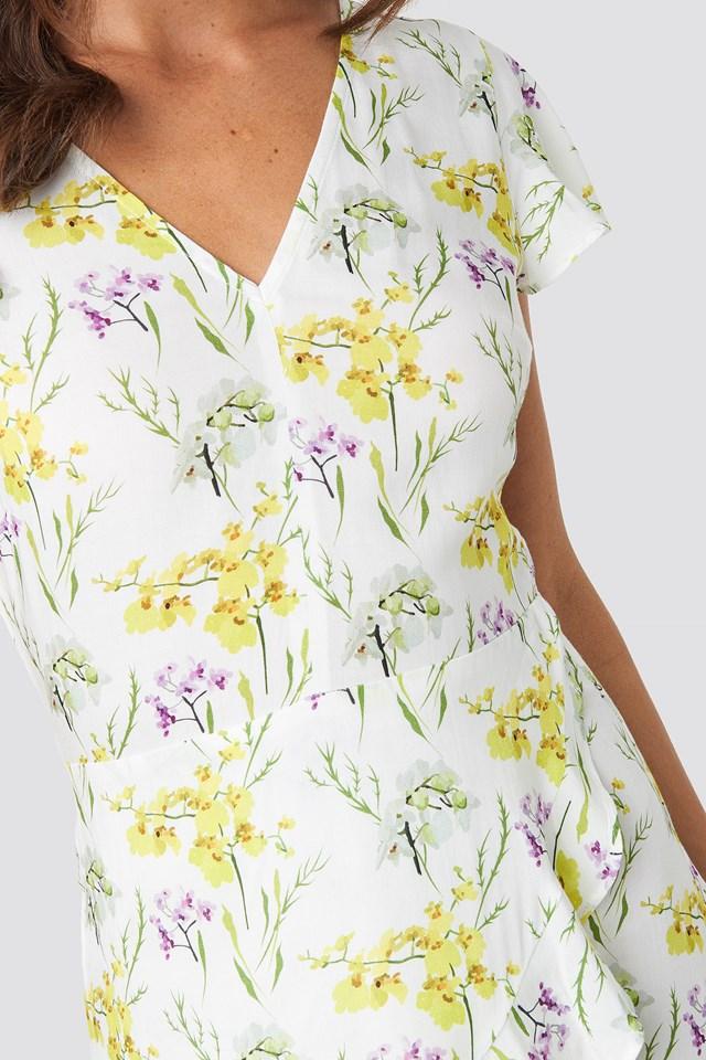 Ruffle Wrap Mini Dress Flower Print
