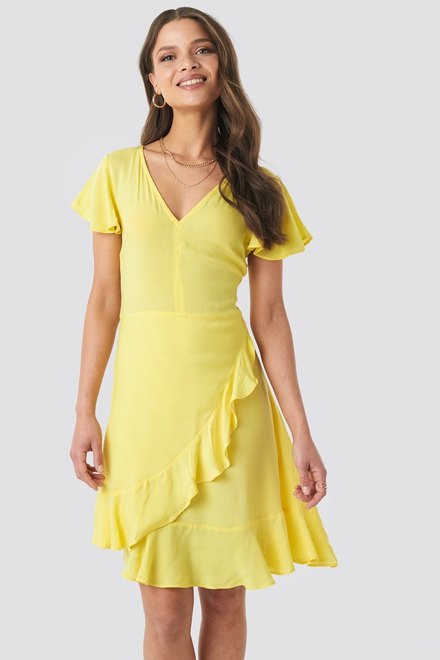 Ruffle Wrap Mini Dress Yellow