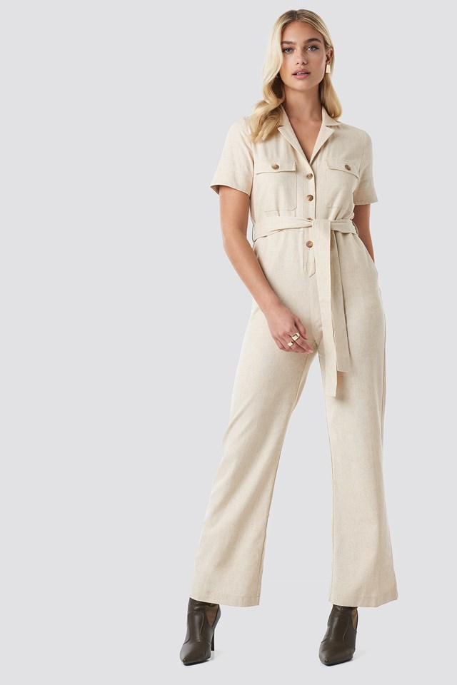 Safari Shirt jumpsuit Light Beige